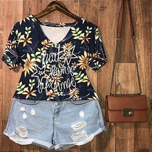 T-shirt Shocker Great Things Floral Azul Marinho