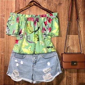 Blusa Ciganinha com Renda Alana Floral Verde Claro