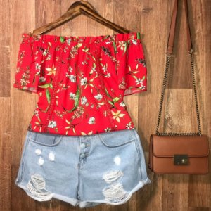 Blusa Ciganinha com Renda Alana Floral Red