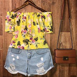 Blusa Ciganinha com Renda Alana Floral Amarela