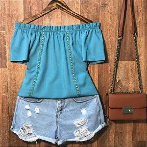 Blusa Ciganinha com Renda Lisa Blue