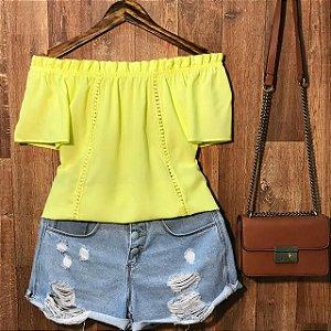 Blusa Ciganinha com Renda Lisa Amarelo Neon