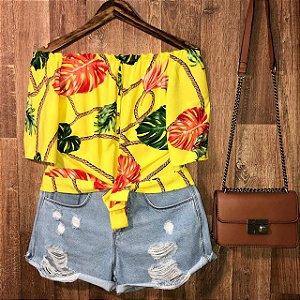 Blusa Ciganinha de Amarrar Cropped Alana Tropical Amarela