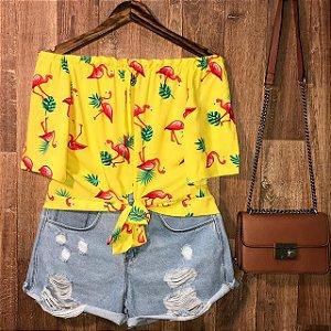 Blusa Ciganinha de Amarrar Cropped Alana Flamingo Amarelo