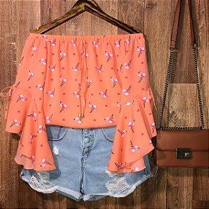 Blusa Ciganinha Manga 3 4 Lacinho Alana Flamingo Salmão