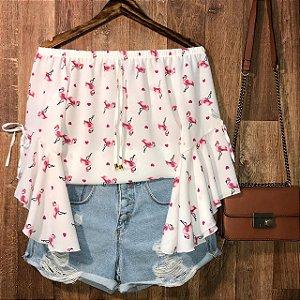 Blusa Ciganinha Manga 3 4 Lacinho Alana Flamingo Branco