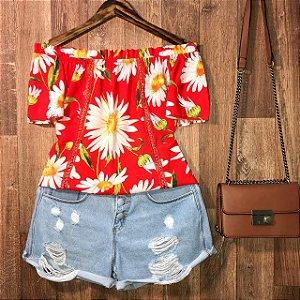 Blusa Ciganinha com Renda Luana Floral Vermelha