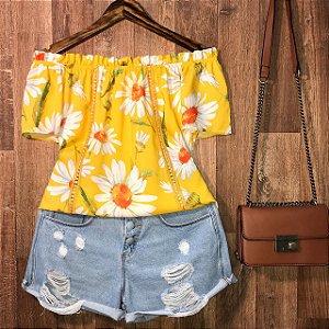 Blusa Ciganinha com Renda Luana Floral Amarela