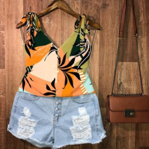 Blusa Alcinha Luana verão laranja