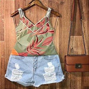 Blusa Alcinha de corda Luana folhas verde