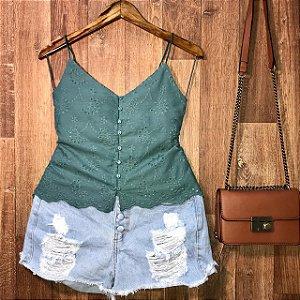 Blusa Alcinha Laise com Botões Luana Verde
