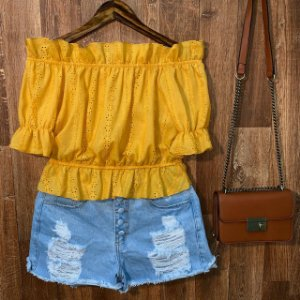Blusa Ciganinha em Laise Cropped Vanessa Yellow