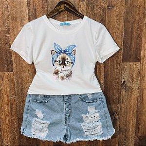 T-shirt Gatinha com Lacinho e Perolas Branca