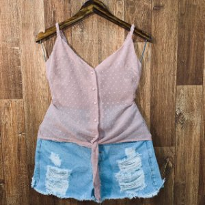 Blusa Alcinha Transparente com Botões Jade Rosê