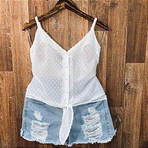Blusa Alcinha Transparente com Botões Jade Branca
