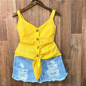 Blusa Alcinha de amarrar com Botões Laise Jade Amarela