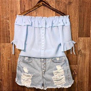 Blusa Ciganinha Perolas e botões falsos Tatiana Azul Claro