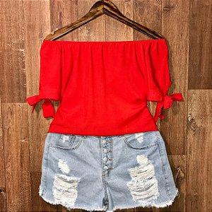 Blusa Ciganinha LB Manga Lacinho Vermelho