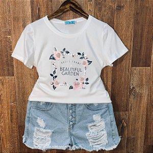 T-shirt Roses com Perolas Off