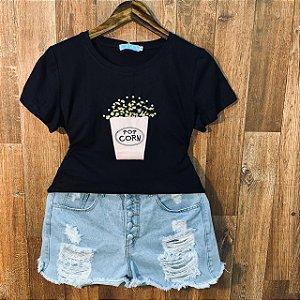 T-shirt Pop Corn com Perolas Black