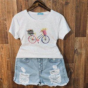 T-shirt Bicicleta com Perolas Cinza