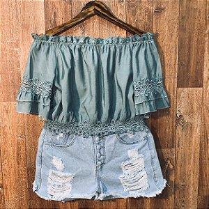 Blusa Ciganinha com Renda Cropped Tatiana Verde Mint