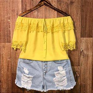Blusa Ciganinha Rendinha e Perolas Tatiana Amarelo