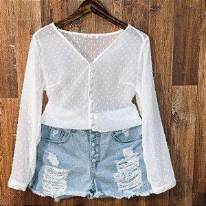 Camisa Transparente Chiffon com Botões Tatiana Branco