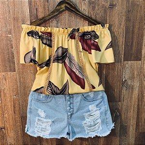 Blusa Ciganinha com Renda Mariah Floral Amarela