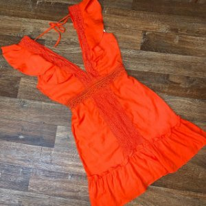 Vestido Decote Guipir Mariah Laranja