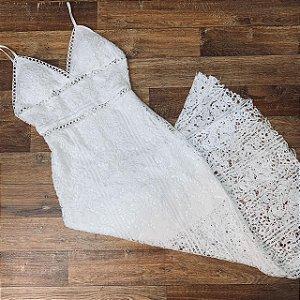 Vestido Longo Rendado Mariah Branco