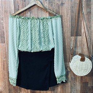 Blusa Ciganinha Cropped Monalisa Verde Mint