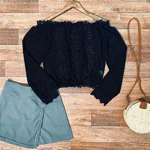 Blusa Ciganinha Cropped Monalisa Black