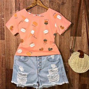 T-shirt Cupcake Colorido Estampa Dupla Rosê