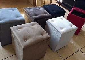 Puff Bau Quadrado Colorido Suede Amassado 35x35x45 CM Pufe Puf Puffs Pufs Decoração