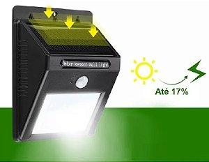 Luminária Solar 20 Led Parede Jardim Sensor Presença E Movimento