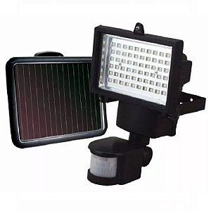 Refletor Solar 60W Sensor Movimento (Luminaria + Painel Solar + Sensor + Cabo)
