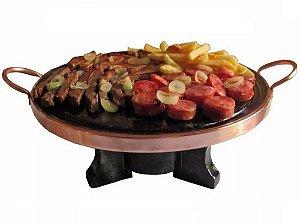 Fondue Kit 37 Cm Com Rechaud À Álcool E Chapa De Carne Pedra Sabão