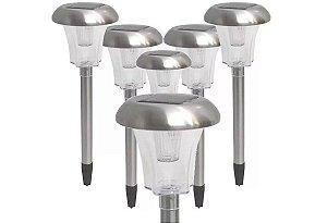 Luminária Solar Led Para Jardim Kit 6 Unidades Em Aço Inox