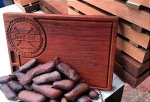Tábua De Carne Personalizada Exclusiva De Madeira Churrasco 25x40x4,5CM 4,8KG (VOCÊ DEFINE O LOGO)