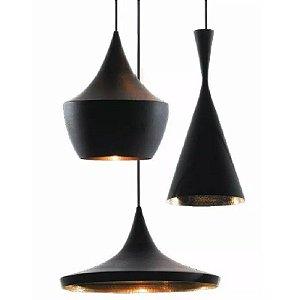 Luminárias Kit 3 Pendentes Tom Dixon Tamanho Médio - Trio Preto E Dourado Beat
