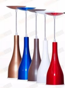 Luminárias Kit 3 Pendentes Alumínio Garrafa Lustre Cone Copo Coloridos