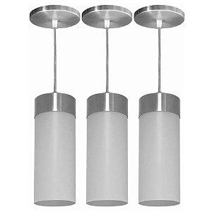 Luminárias Kit 3 Pendentes Lustre Veza Copo Luminária Alumínio Cone