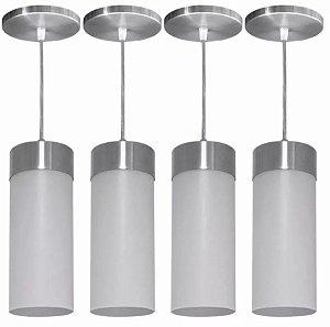 Luminárias Kit 4 Pendentes Copo Lustre Cone Cilindro Balcão