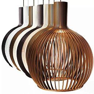 Lustre Octo De Madeira Luminária Pendente Design Moderno 38x46cm