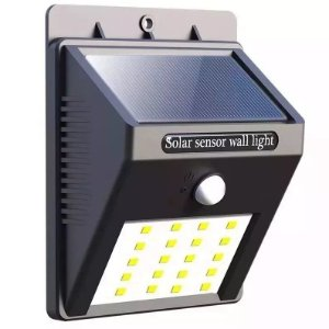 Luminária Balizador 20 Led's Solar de Parede Garagem, Muro, Escadas, Chácara, Jardim