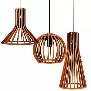 Luminaria De Teto Mesa Sala Cozinha Conjunto De 3 Lustres Pendentes De Madeira