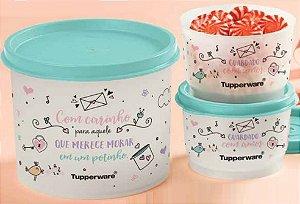 Kit 03PÇ Tupperware Porta Doces Biscoitos Alimentos Redondinha + Potinhos Guardado com Amor