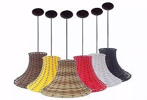 Kit 2 Luminarias De Teto Mesa Sala Balcão Lustre Pendente De Junco Coloridas Formato Chapéu Chinês