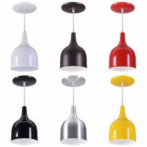 Kit 4 Luminarias Pendentes De Teto Mesa Sala Cozinha Coloridos Lustres Modelo Gota Teat Alumínio